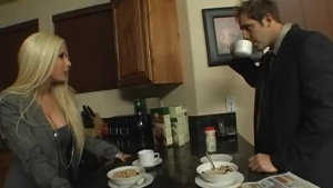 Blonde wife is passionately sucking her husband's big dick and getting fresh creampies on her lips